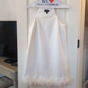 Topshop white dress with feather detail on bottom